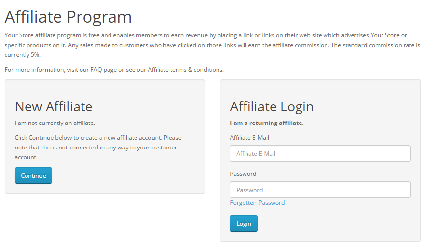 OpenCart 2 Affiliate Program Sign Up Page