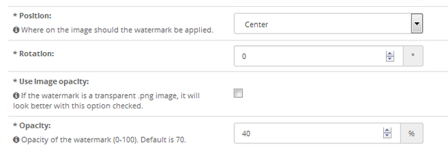 Selecting a position rotation and opacity for your watermark