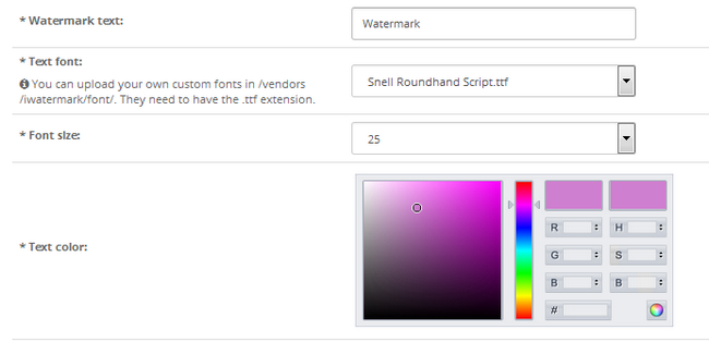 Configuring a text type of watermark for your products in OpenCart 2