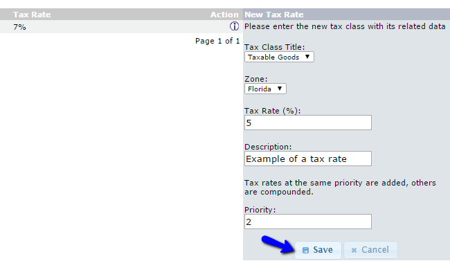 Edit Tax Rate Options in osCommerce