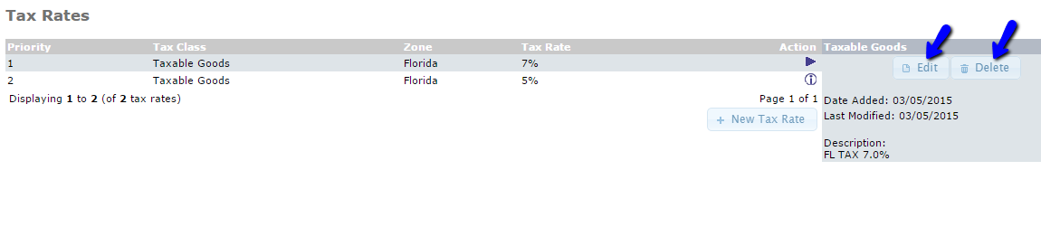 Edit or Delete Existing Tax Rate in osCommerce