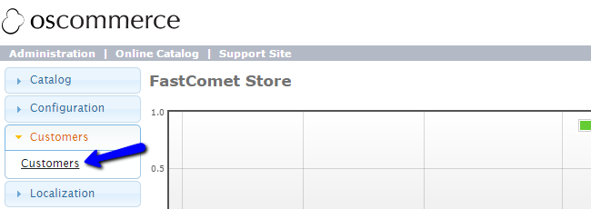 Access Customers Manager in osCommerce
