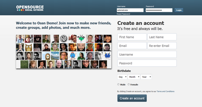Open Source Social Network Front Page