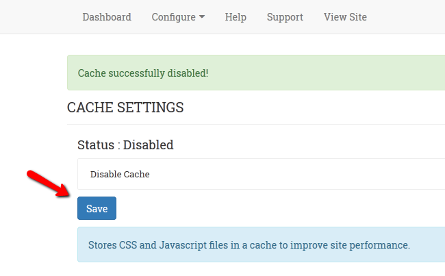 Enabling or disabling of the OSSN cache