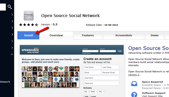 Install Open Source Social Network via Softaculous
