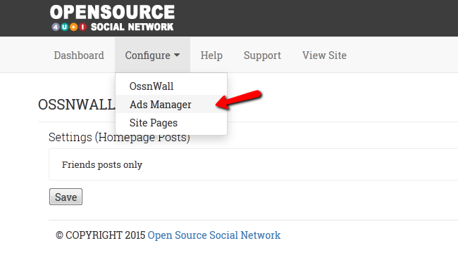 Accessing the Ads Manager Section of OSSN