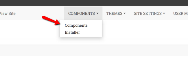 Accessing the Components section in OSSN