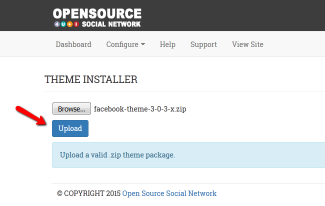Uploading a new Theme via the Theme Installer