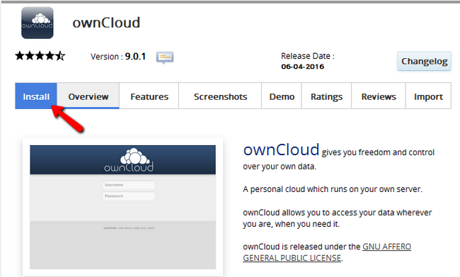 Initiating the installation of ownCloud