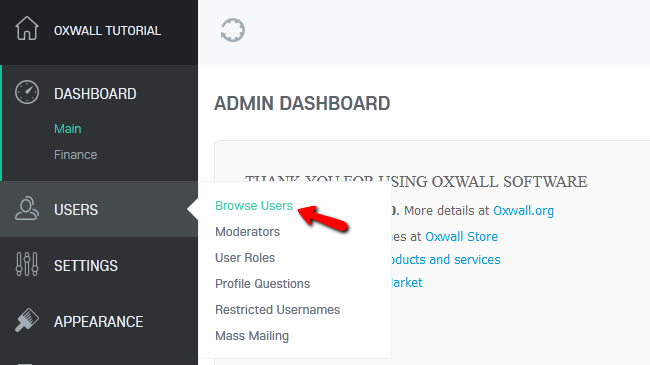 Accessing the Browse Users Menu in Oxwall