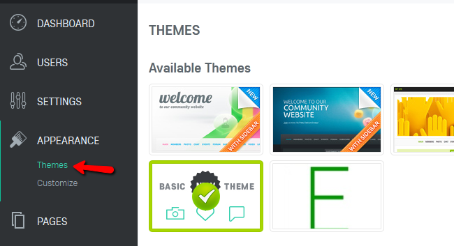 Accessing the Themes Menu in Oxwall