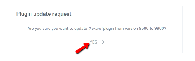 Confirming the Update of a Plugin in Oxwall
