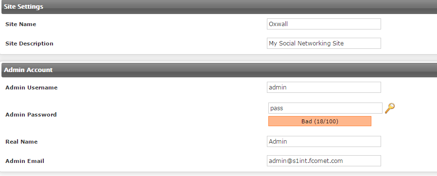 site settings oxwall