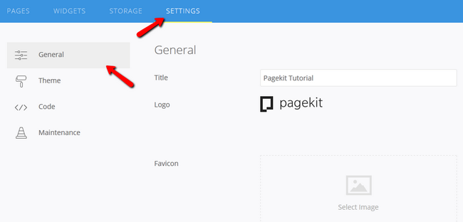 Accessing the General Settings menu in Pagekit