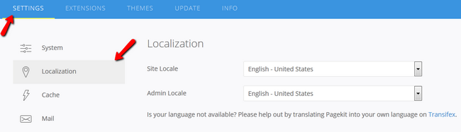 Accessing the Localization Settings in Pagekit