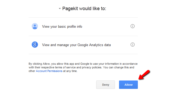 Allowing Pagekit to manage your Google Analytics data