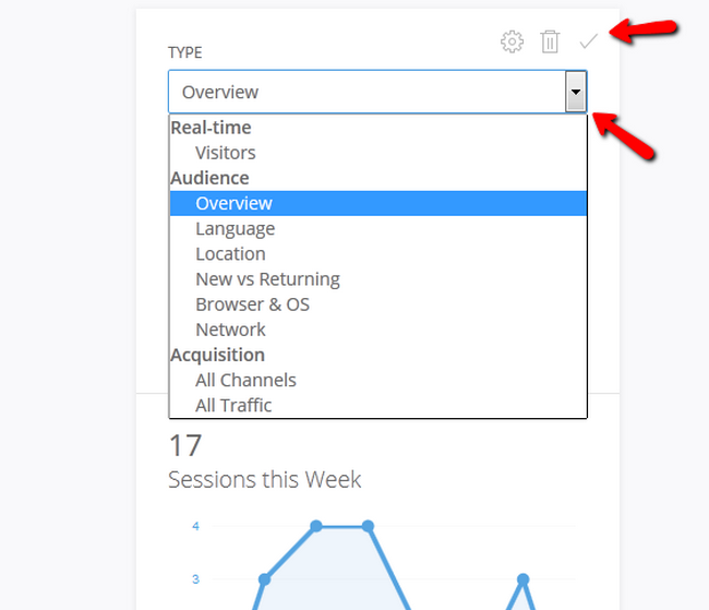 Selecting the type of data the Widget will display