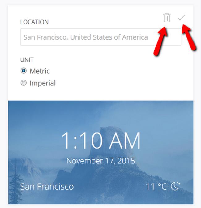 Confirm Widget changes or delete the Widget