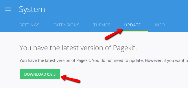 Updating to the lates version of Pagekit or Re-installing