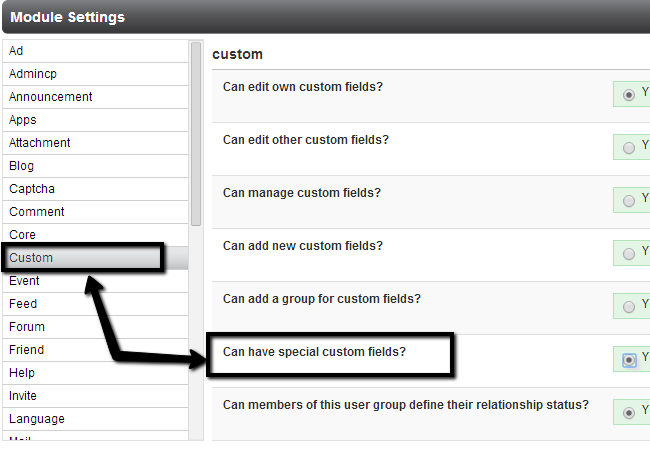 Edit permissions for user groups in PHPFox