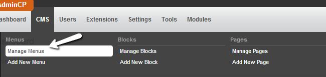 Manage menus in PHPFox