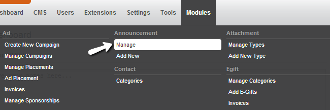 Access announcement manager in PHPFox