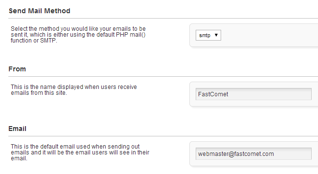 Enable and configure SMTP in PHPFox