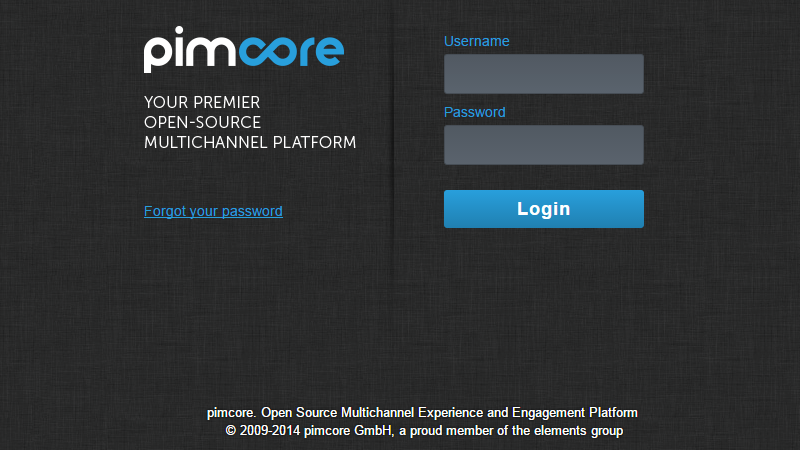 pimcore admin area login screen