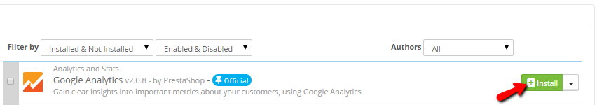 installing the Google Analytics