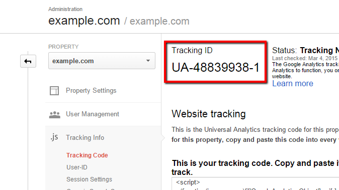 obtaining the tracking ID