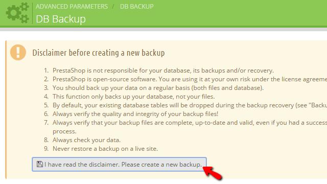 Generating a database backup