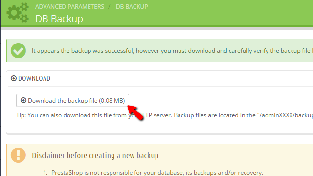 Downloading the generated database backup