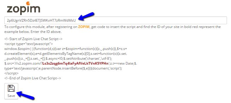 Integrate Zopim Widget ID with PrestaShop
