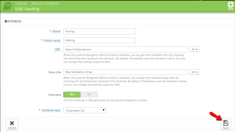 Configuring the new attribute