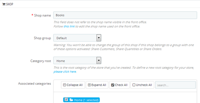 Configuring the new Shop's name group and Categories