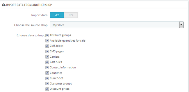 Importing data from another shop to your newly created shop
