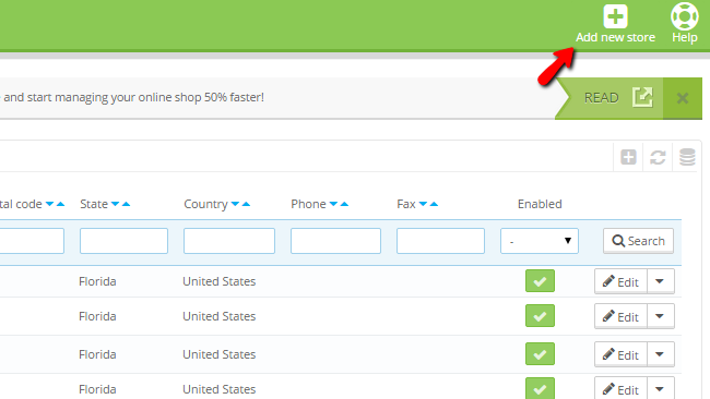 accessing the store contacts page