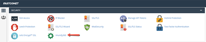 Find Imunify360 in cPanel