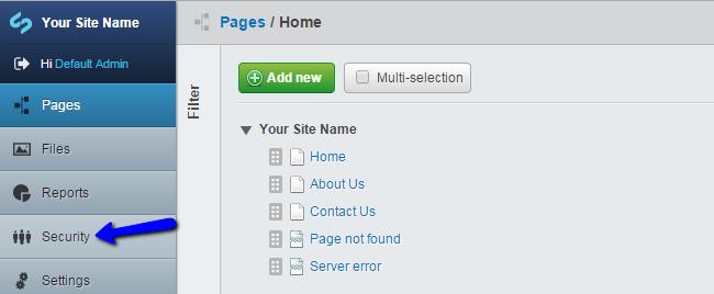Access security menu in SilverStripe