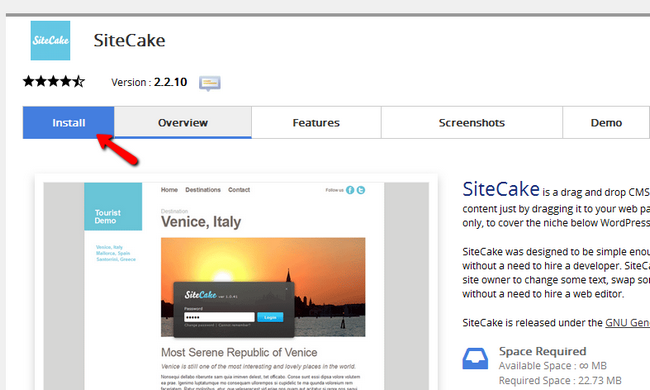 Installing Sitecake via Softaculous