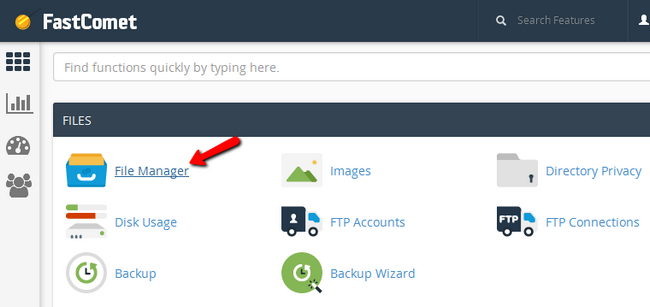 Accessing the File Manager via cPanel
