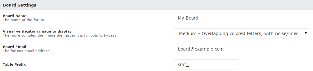 Board Settings for SMF in Softaculous