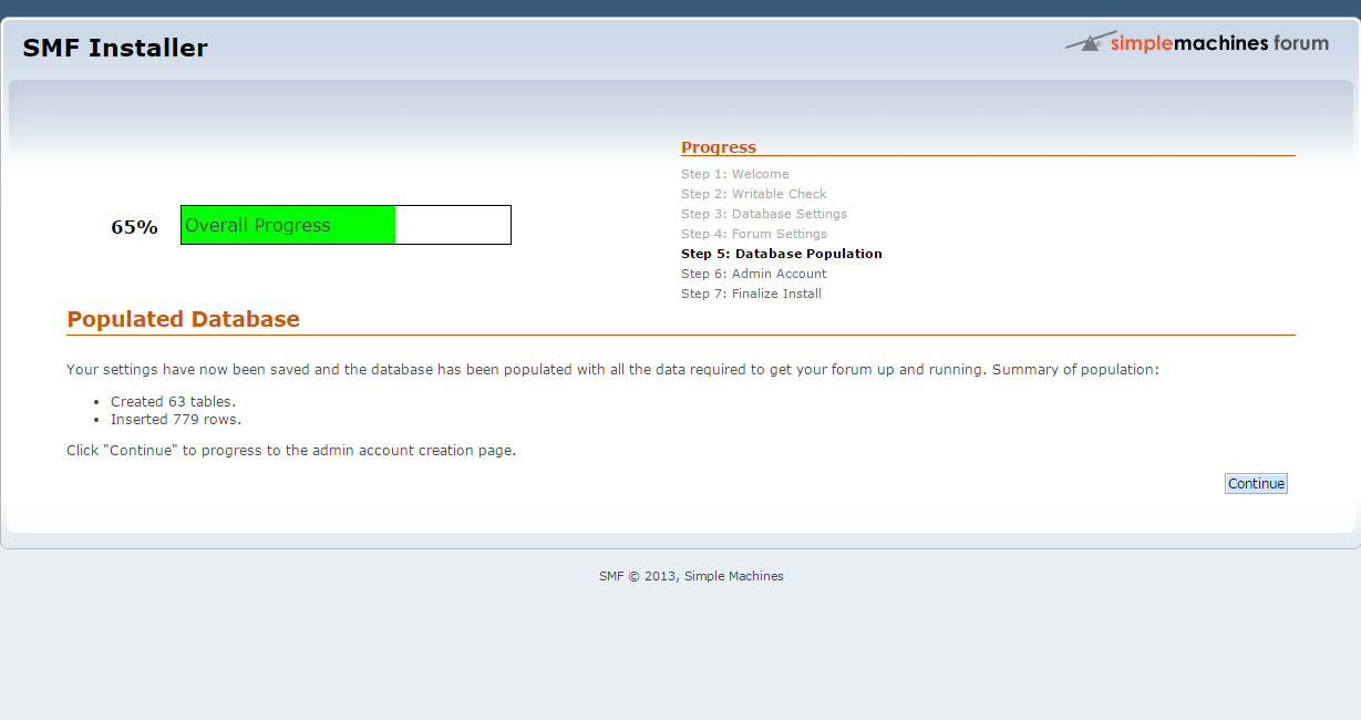 Database Population During SMF Installation
