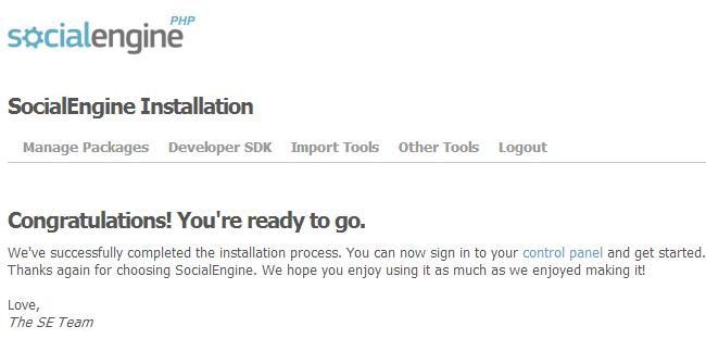 Successful SocialEngine installation