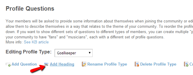Add headings for profile types in SocialEngine