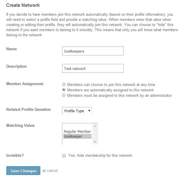 Edit network details in SocialEngine