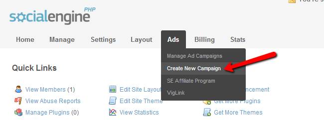 Access campaign menu in SocialEngine