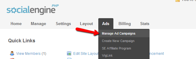 Access the ads management menu in SocialEngine