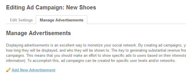 Create a new advertisement in SocialEngine