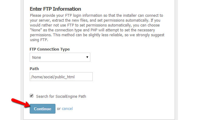 Enter FTP details for a module installation in SocialEngine